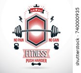 weight lifting exercise room... | Shutterstock .eps vector #740000935