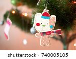 a wooden christmas toy in the...   Shutterstock . vector #740005105
