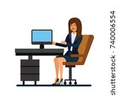 female client support  working... | Shutterstock .eps vector #740006554