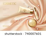 soft 3d realistic cosmetic ad.... | Shutterstock .eps vector #740007601