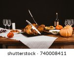 baked turkey with fork and... | Shutterstock . vector #740008411