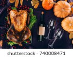 top view of baked turkey with...   Shutterstock . vector #740008471
