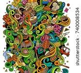 cartoon cute doodles hand drawn ... | Shutterstock .eps vector #740008534