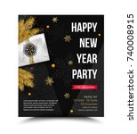 happy new year party flyer ... | Shutterstock .eps vector #740008915