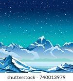 winter nature landscape. snowy... | Shutterstock .eps vector #740013979