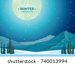 winter vector landscape with... | Shutterstock .eps vector #740013994