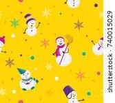 seamless pattern of snowmans in ... | Shutterstock .eps vector #740015029