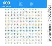 creative 600 icons set  ... | Shutterstock .eps vector #740017024