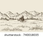 prairie and mountains panorama | Shutterstock .eps vector #740018035