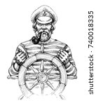 sailor at helm drawing | Shutterstock .eps vector #740018335