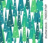 christmas trees pattern | Shutterstock .eps vector #740019769