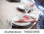 silver flatware  white plates