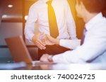modern business man hand shake... | Shutterstock . vector #740024725