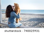 woman with her dog at sandy sea ... | Shutterstock . vector #740025931