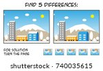 child game   find 5 differences ... | Shutterstock .eps vector #740035615