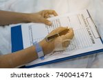 insurance claim form put on... | Shutterstock . vector #740041471