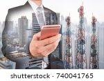 double exposure of businessman... | Shutterstock . vector #740041765
