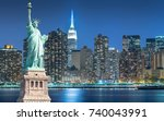 the statue of liberty with... | Shutterstock . vector #740043991