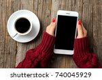 woman using a smartphone in...   Shutterstock . vector #740045929