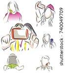 set of color illustrations on... | Shutterstock .eps vector #740049709