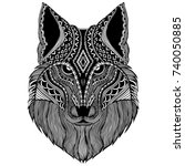 vector patterned head of wolf... | Shutterstock .eps vector #740050885