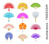 hand paper fan vector icons.... | Shutterstock .eps vector #740052349