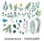 set of watercolor drawing wild... | Shutterstock . vector #740052889
