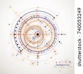 mechanical scheme  vector... | Shutterstock .eps vector #740053249