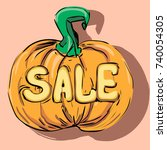 halloween pumpkin with a carved ... | Shutterstock .eps vector #740054305