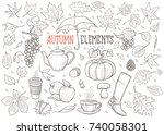 autumn elements hand drawn... | Shutterstock .eps vector #740058301