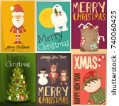 merry christmas posters set  ... | Shutterstock .eps vector #740060425