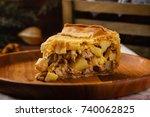 homemade chicken meat pie with...   Shutterstock . vector #740062825
