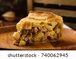 homemade chicken meat pie with...   Shutterstock . vector #740062945