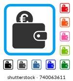 euro wallet icon. flat gray... | Shutterstock .eps vector #740063611