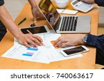 hands of architect meeting... | Shutterstock . vector #740063617