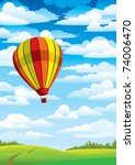 colored balloon on a blue sky ... | Shutterstock .eps vector #74006470
