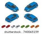 isometric sportcar or hatchback ... | Shutterstock .eps vector #740065159