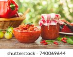 delicious ajvar served in bowl... | Shutterstock . vector #740069644