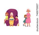 vector flat grandparents and...   Shutterstock .eps vector #740070007