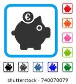 euro piggy bank icon. flat grey ...