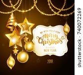 merry christmas golden text.... | Shutterstock .eps vector #740072269