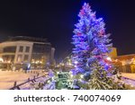 beautiful christmas tree at... | Shutterstock . vector #740074069