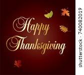 ornate happy thanksgiving... | Shutterstock .eps vector #740082019