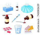 set of medicinal remedy for... | Shutterstock .eps vector #740083639