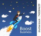 flying businessman cartoon... | Shutterstock .eps vector #740084659