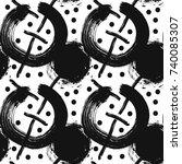 seamless monochrome grunge... | Shutterstock .eps vector #740085307