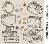Set Of Old Vintage Suitcases...