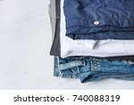 stack heap of folded jeans... | Shutterstock . vector #740088319