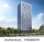 office center   3d render  3d... | Shutterstock . vector #740088349
