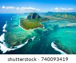 aerial view of mauritius island ... | Shutterstock . vector #740093419